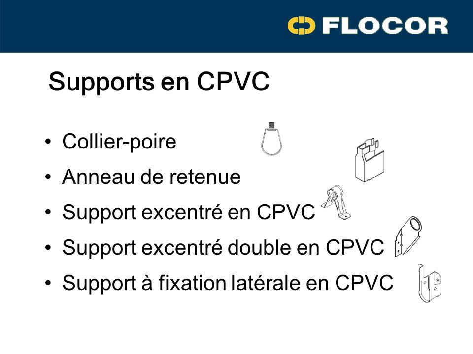 Supports en CPVC Collier-poire Anneau de retenue Support excentré en CPVC Support excentré double en CPVC Support à fixation latérale en CPVC