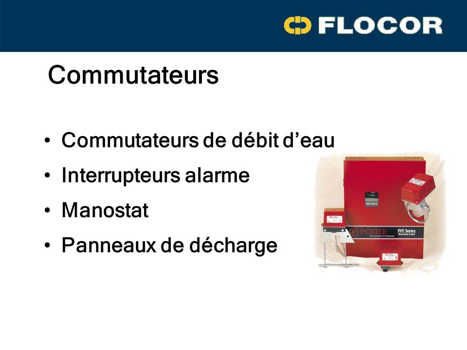 Commutateurs Commutateurs de débit deau Interrupteurs alarme Manostat Panneaux de décharge