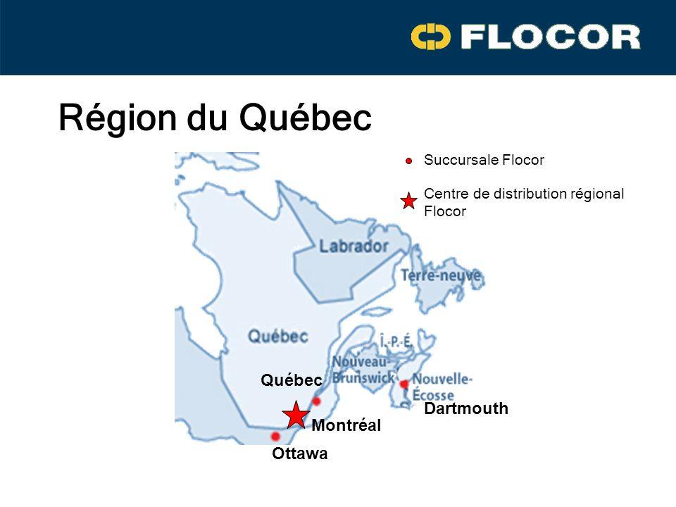Région du Québec Dartmouth Québec Montréal Ottawa Succursale Flocor Centre de distribution régional Flocor