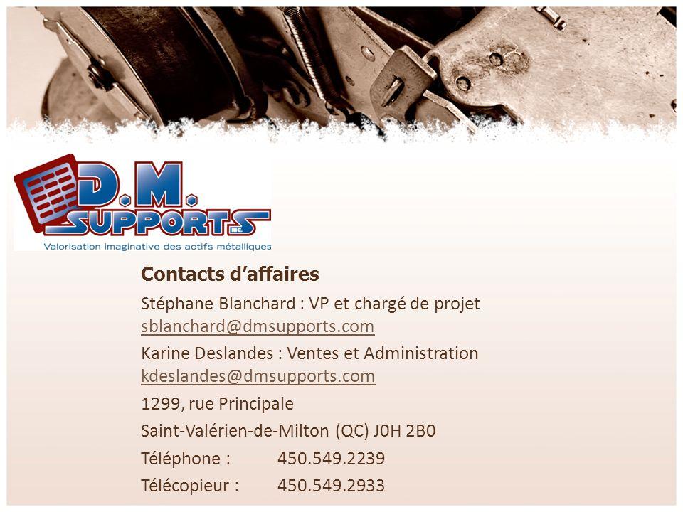 Contacts daffaires Stéphane Blanchard : VP et chargé de projet sblanchard@dmsupports.com sblanchard@dmsupports.com Karine Deslandes : Ventes et Admini