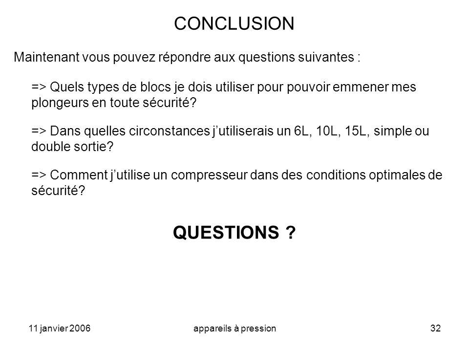 11 janvier 2006appareils à pression32 CONCLUSION Maintenant vous pouvez répondre aux questions suivantes : => Quels types de blocs je dois utiliser po