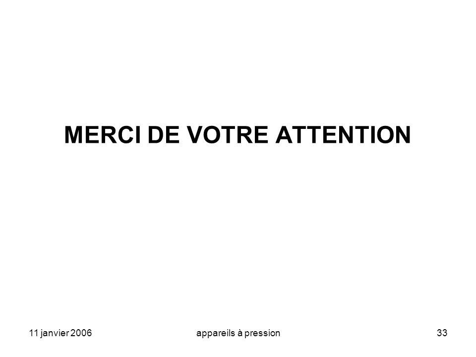 11 janvier 2006appareils à pression33 MERCI DE VOTRE ATTENTION