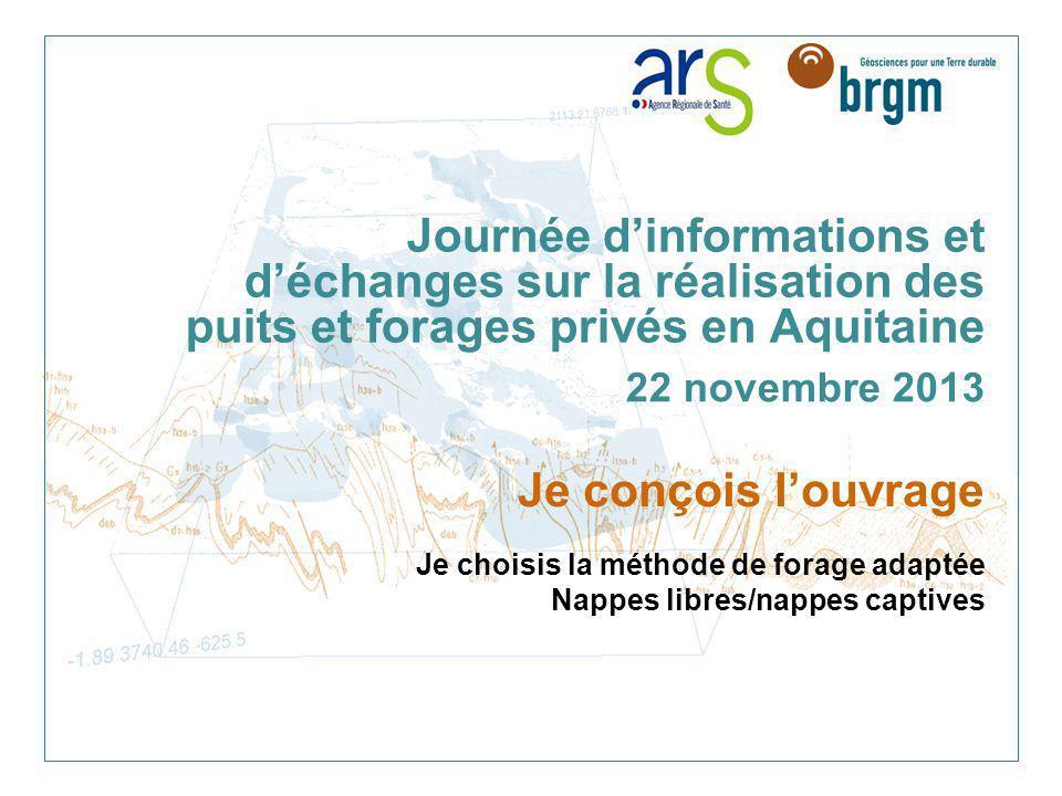 Journée dinformations et déchanges sur la réalisation des puits et forages privés en Aquitaine 22 novembre 2013 Je conçois louvrage Je choisis la méth