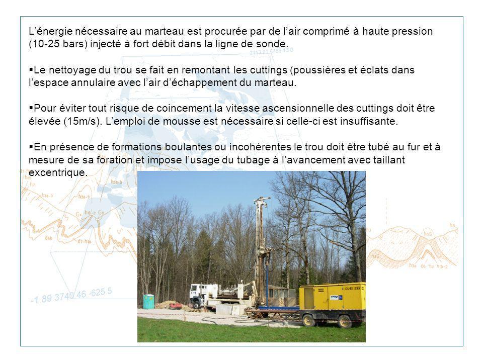 Lénergie nécessaire au marteau est procurée par de lair comprimé à haute pression (10-25 bars) injecté à fort débit dans la ligne de sonde. Le nettoya