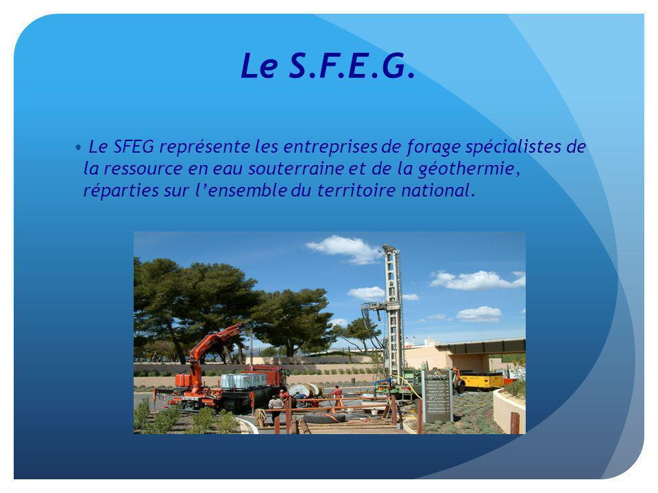 Le S.F.E.G. Le SFEG représente les entreprises de forage spécialistes de la ressource en eau souterraine et de la géothermie, réparties sur lensemble