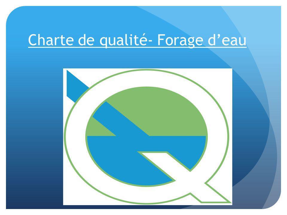 Charte de qualité- Forage deau