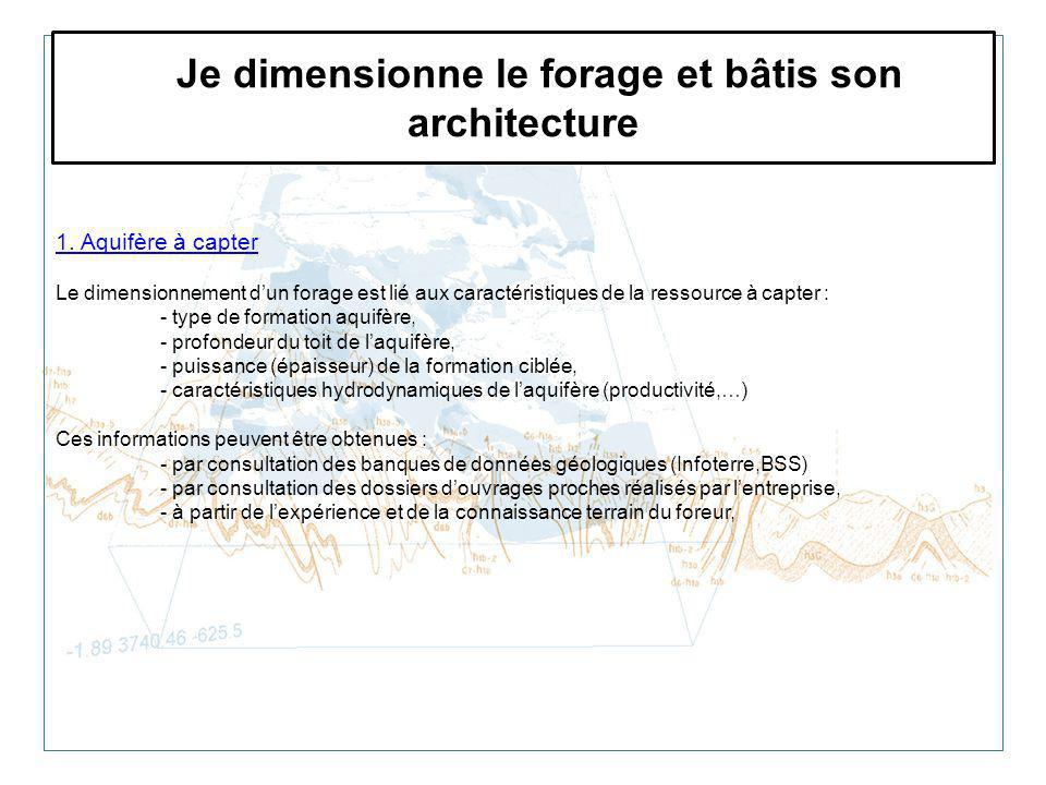 Je dimensionne le forage et bâtis son architecture 1. Aquifère à capter Le dimensionnement dun forage est lié aux caractéristiques de la ressource à c
