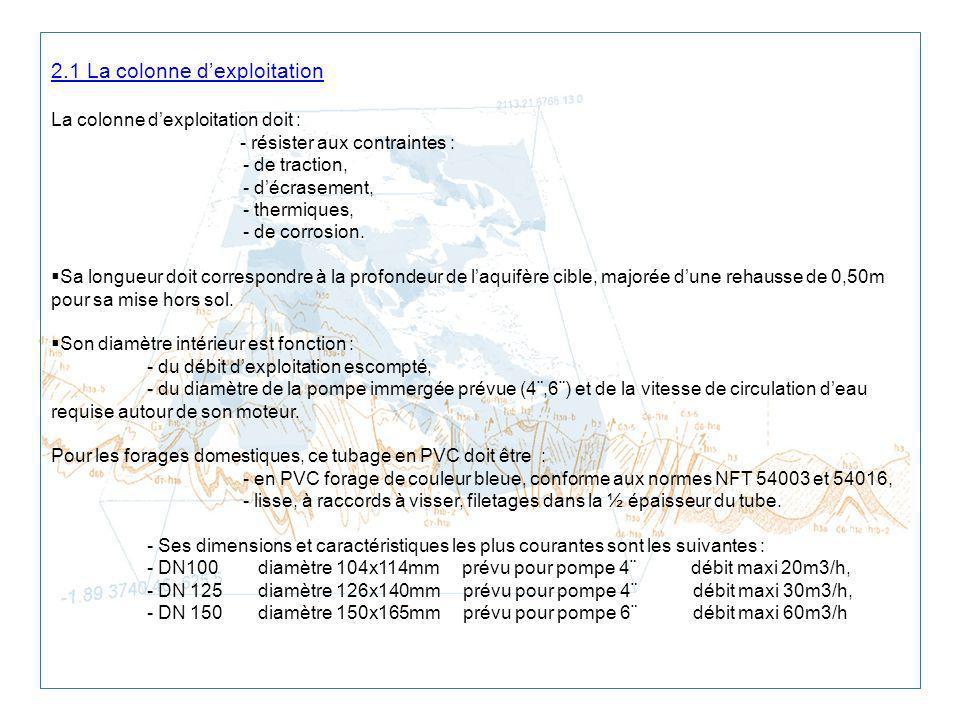 2.1 La colonne dexploitation La colonne dexploitation doit : - résister aux contraintes : - de traction, - décrasement, - thermiques, - de corrosion.