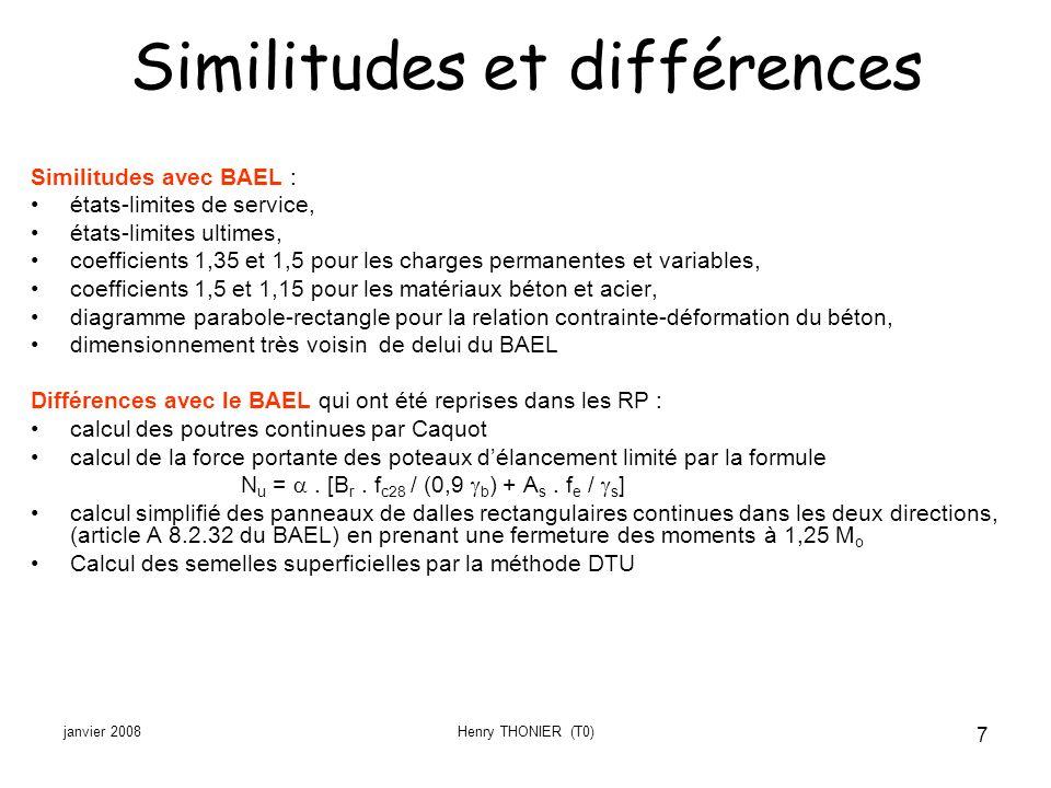 janvier 2008Henry THONIER (T0) 7 Similitudes et différences Similitudes avec BAEL : états-limites de service, états-limites ultimes, coefficients 1,35