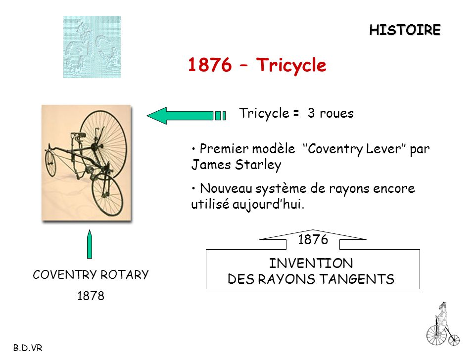 COVENTRY ROTARY 1878 HISTOIRE 1876 – Tricycle INVENTION DES RAYONS TANGENTS 1876 Premier modèle Coventry Lever par James Starley Nouveau système de ra