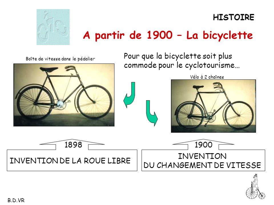 HISTOIRE A partir de 1900 – La bicyclette Pour que la bicyclette soit plus commode pour le cyclotourisme… INVENTION DE LA ROUE LIBRE INVENTION DU CHAN