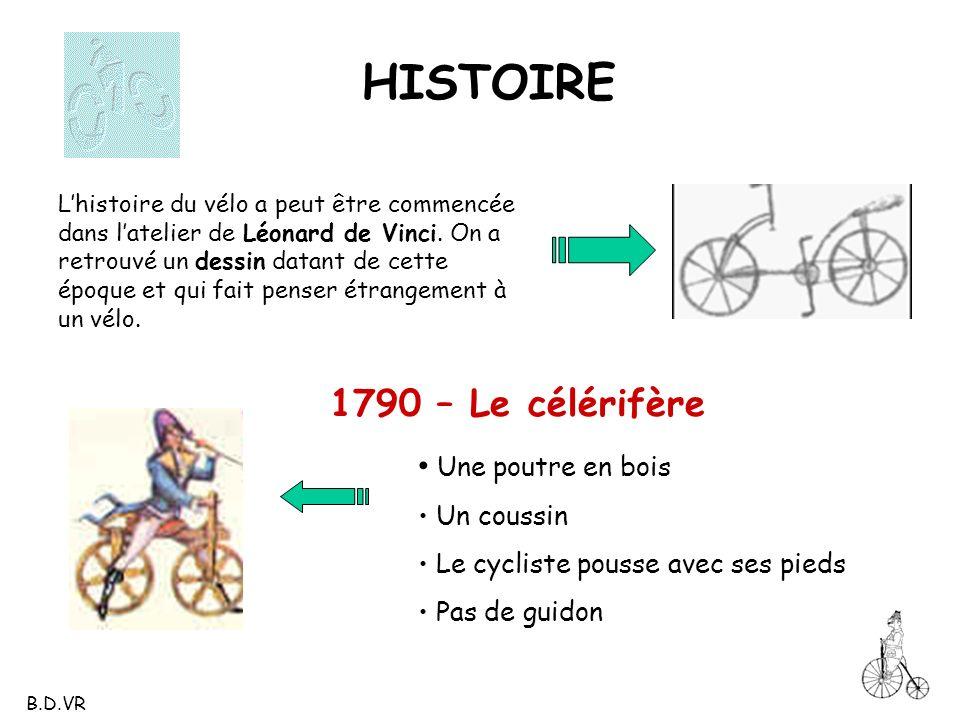1790 – Le célérifère Lhistoire du vélo a peut être commencée dans latelier de Léonard de Vinci. On a retrouvé un dessin datant de cette époque et qui