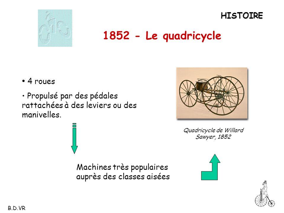 1852 - Le quadricycle Quadricycle de Willard Sawyer, 1852 HISTOIRE 4 roues Propulsé par des pédales rattachées à des leviers ou des manivelles. Machin