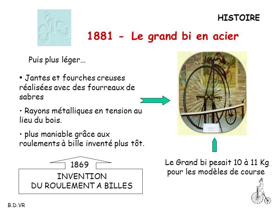 HISTOIRE 1881 - Le grand bi en acier Puis plus léger… Jantes et fourches creuses réalisées avec des fourreaux de sabres Rayons métalliques en tension