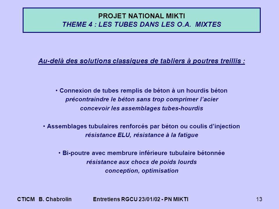 CTICM B. ChabrolinEntretiens RGCU 23/01/02 - PN MIKTI13 PROJET NATIONAL MIKTI THEME 4 : LES TUBES DANS LES O.A. MIXTES Au-delà des solutions classique