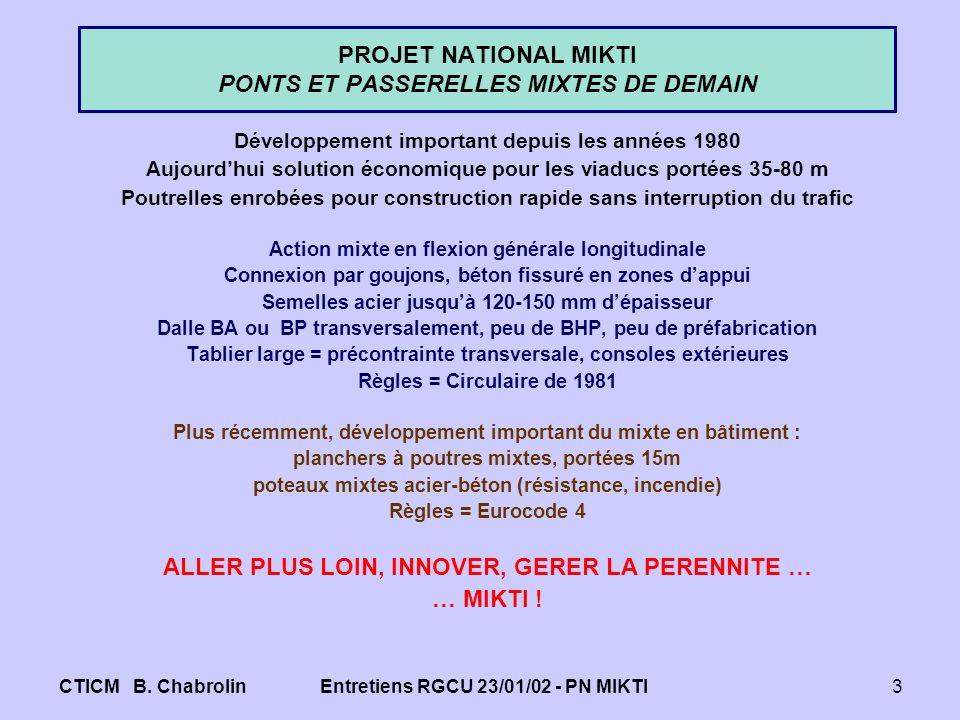 CTICM B. ChabrolinEntretiens RGCU 23/01/02 - PN MIKTI3 PROJET NATIONAL MIKTI PONTS ET PASSERELLES MIXTES DE DEMAIN Développement important depuis les