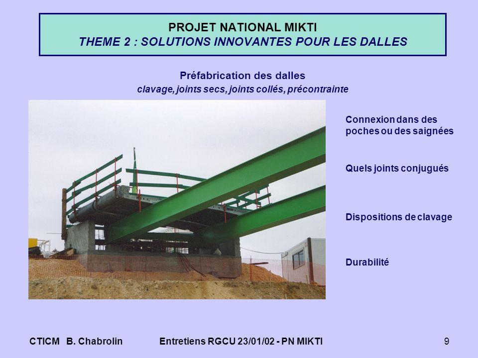 CTICM B. ChabrolinEntretiens RGCU 23/01/02 - PN MIKTI9 PROJET NATIONAL MIKTI THEME 2 : SOLUTIONS INNOVANTES POUR LES DALLES Préfabrication des dalles