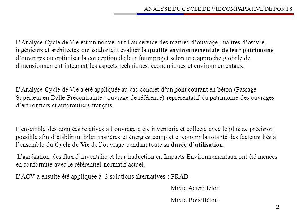 2 ANALYSE DU CYCLE DE VIE COMPARATIVE DE PONTS LAnalyse Cycle de Vie est un nouvel outil au service des maitres douvrage, maitres dœuvre, ingénieurs e