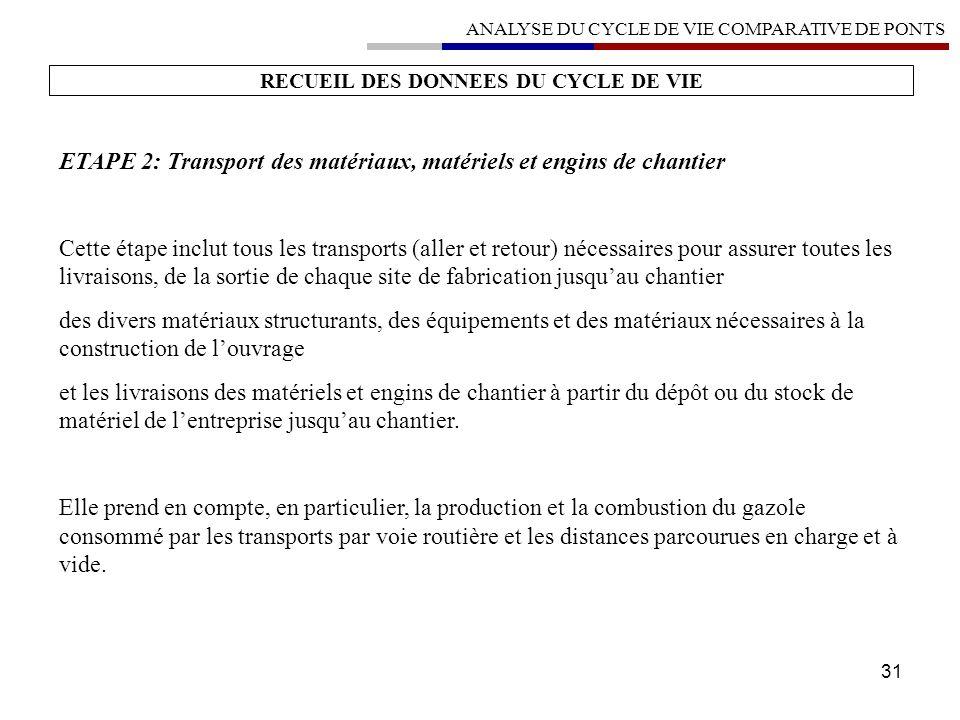 31 RECUEIL DES DONNEES DU CYCLE DE VIE ETAPE 2: Transport des matériaux, matériels et engins de chantier Cette étape inclut tous les transports (aller