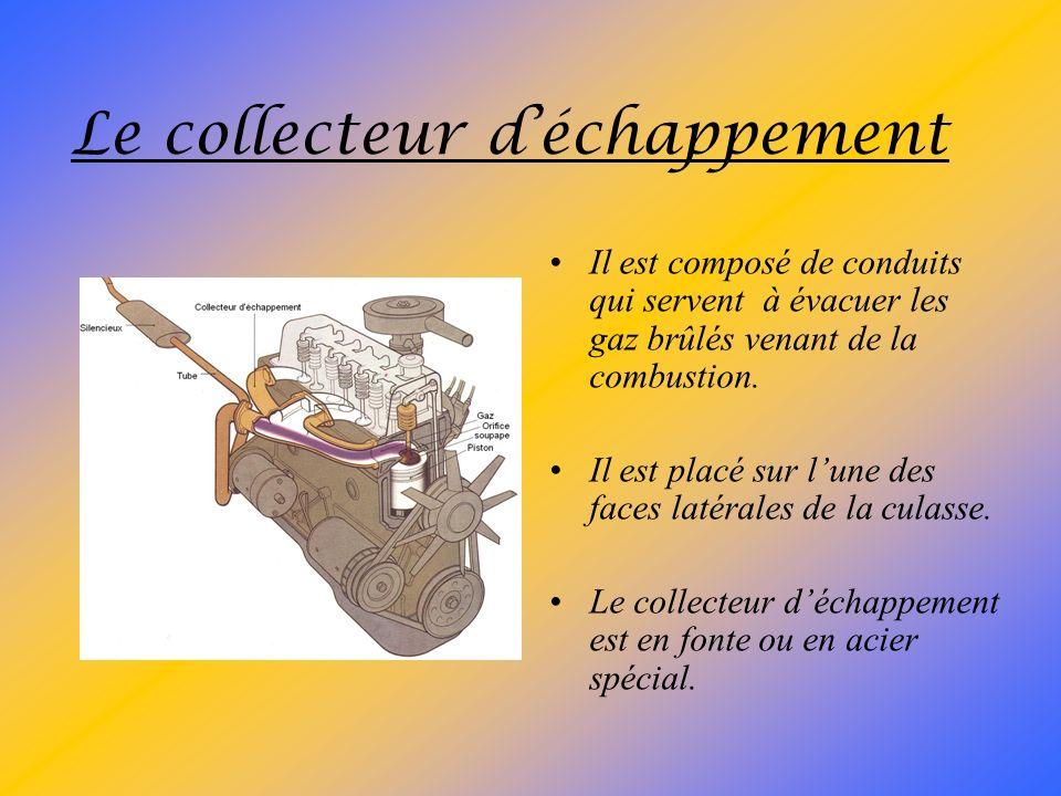 Le collecteur dadmission Il est composé de conduits qui servent à amener les gaz frais jusquaux soupapes dadmission. Il est placé sur lune des faces l