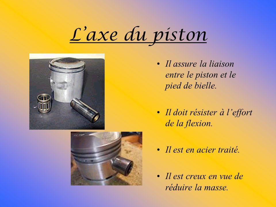 Les segments : Ils assurent létanchéité et le refroidissement du piston. Ils empêchent les remontées dhuile. Ils sont composés de fonte perlite.