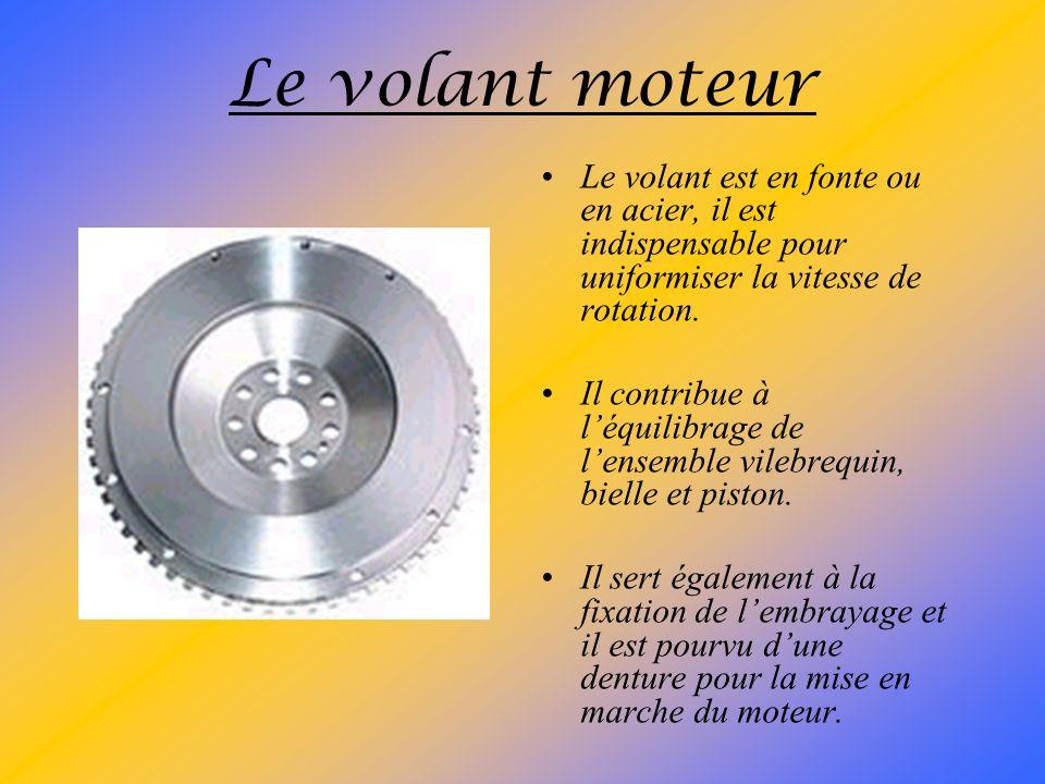 Le vilebrequin Il peut être réalisé : –par forgeage en acier nickel chrome ; –par moulage en fonte chrome ou silicium. Il reçoit des traitements therm
