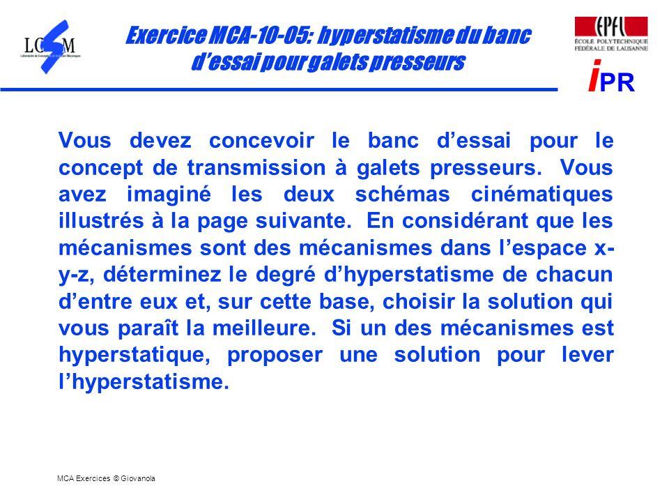 MCA Exercices © Giovanola i PR Exercice MCA-10-05: hyperstatisme du banc dessai pour galets presseurs Vous devez concevoir le banc dessai pour le conc