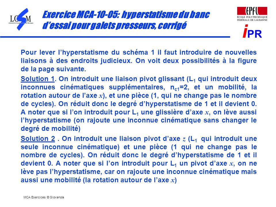 MCA Exercices © Giovanola i PR Exercice MCA-10-05: hyperstatisme du banc dessai pour galets presseurs, corrigé Pour lever lhyperstatisme du schéma 1 i