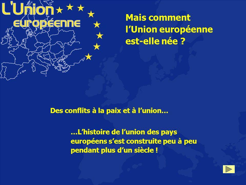 Mais comment lUnion européenne est-elle née ? Des conflits à la paix et à lunion… …Lhistoire de lunion des pays européens sest construite peu à peu pe