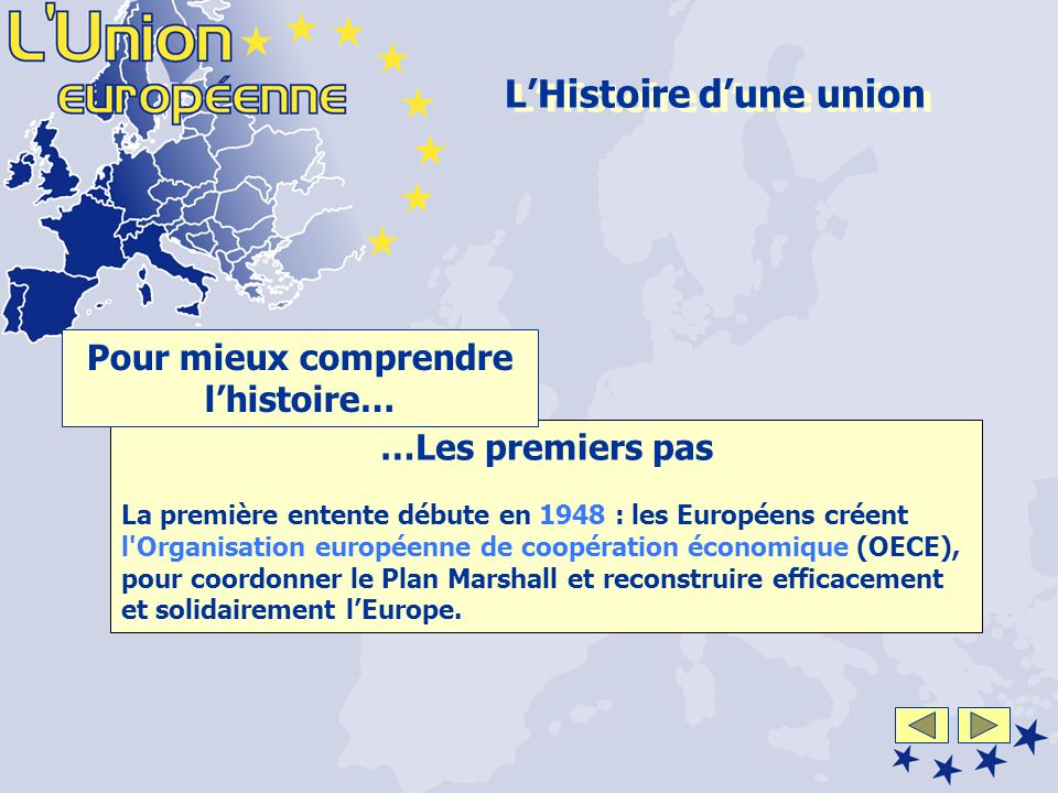 …Les premiers pas La première entente débute en 1948 : les Européens créent l Organisation européenne de coopération économique (OECE), pour coordonner le Plan Marshall et reconstruire efficacement et solidairement lEurope.