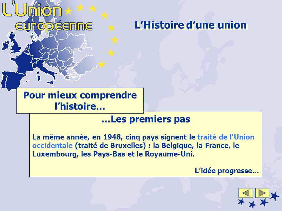 …Les premiers pas La même année, en 1948, cinq pays signent le traité de l Union occidentale (traité de Bruxelles) : la Belgique, la France, le Luxembourg, les Pays-Bas et le Royaume-Uni.