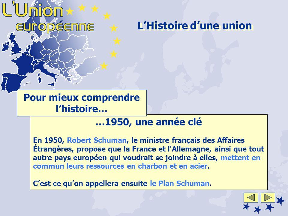 …1950, une année clé En 1950, Robert Schuman, le ministre français des Affaires Étrangères, propose que la France et l Allemagne, ainsi que tout autre pays européen qui voudrait se joindre à elles, mettent en commun leurs ressources en charbon et en acier.
