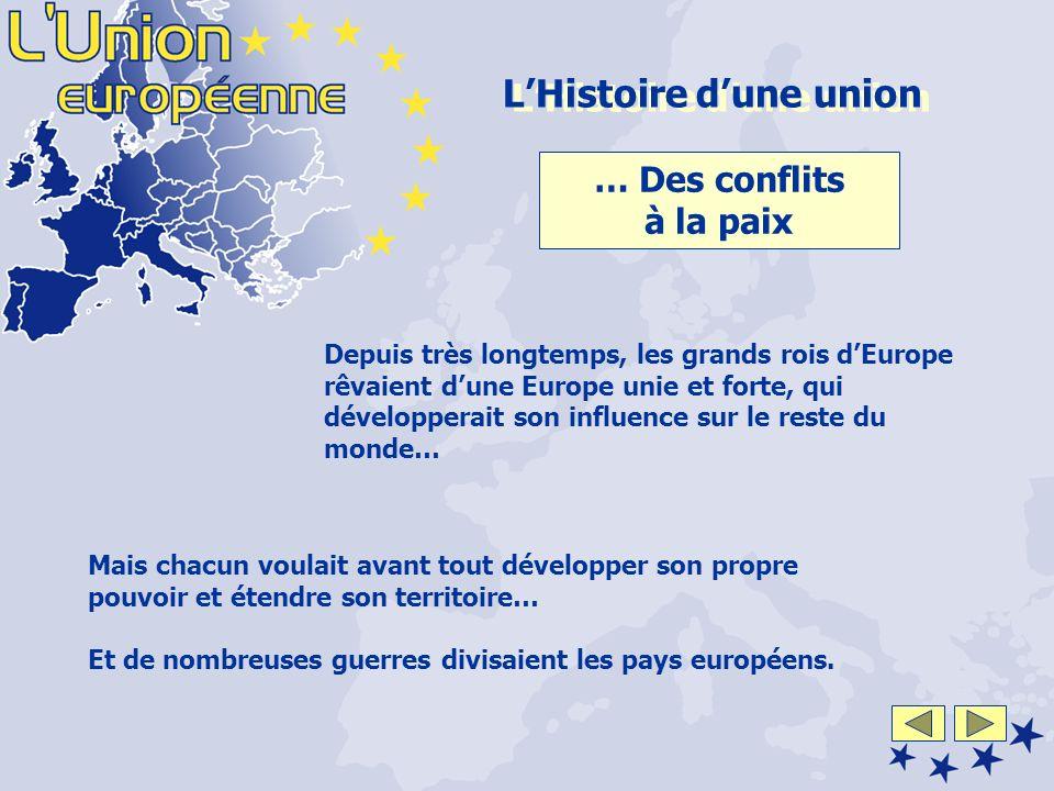Depuis très longtemps, les grands rois dEurope rêvaient dune Europe unie et forte, qui développerait son influence sur le reste du monde… LHistoire du