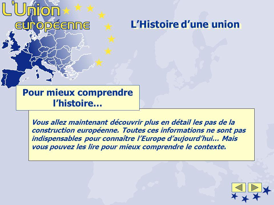 Vous allez maintenant découvrir plus en détail les pas de la construction européenne.