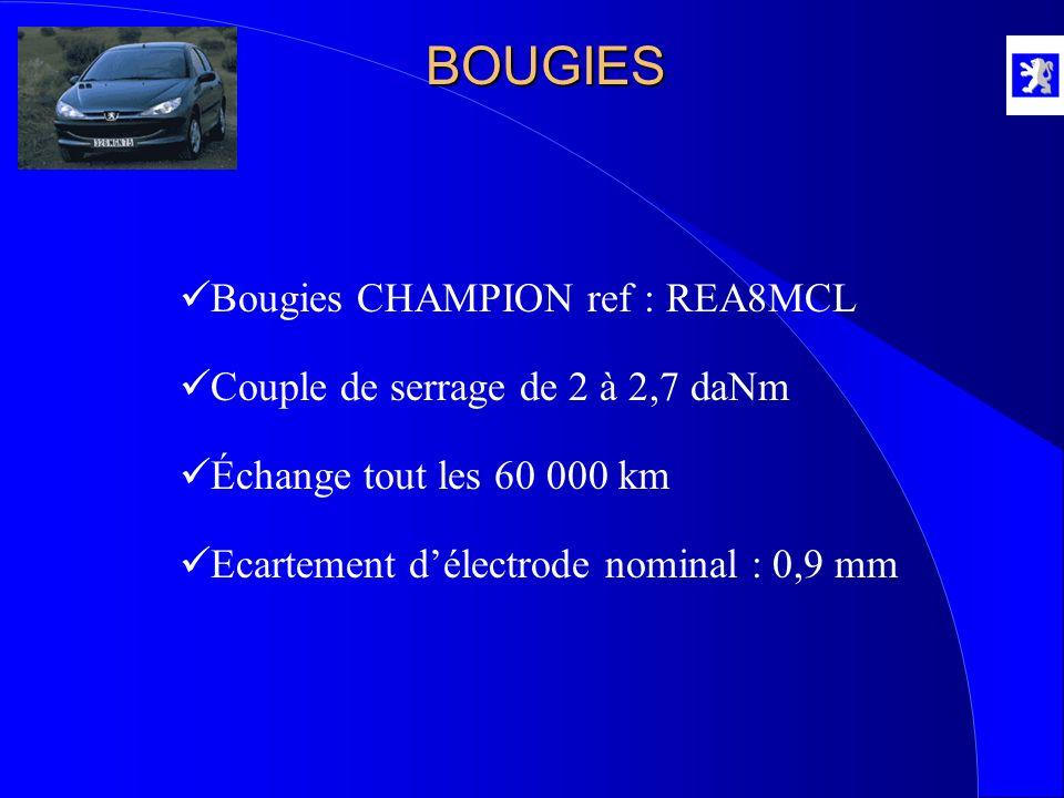 BOUGIES Bougies CHAMPION ref : REA8MCL Échange tout les 60 000 km Ecartement délectrode nominal : 0,9 mm Couple de serrage de 2 à 2,7 daNm