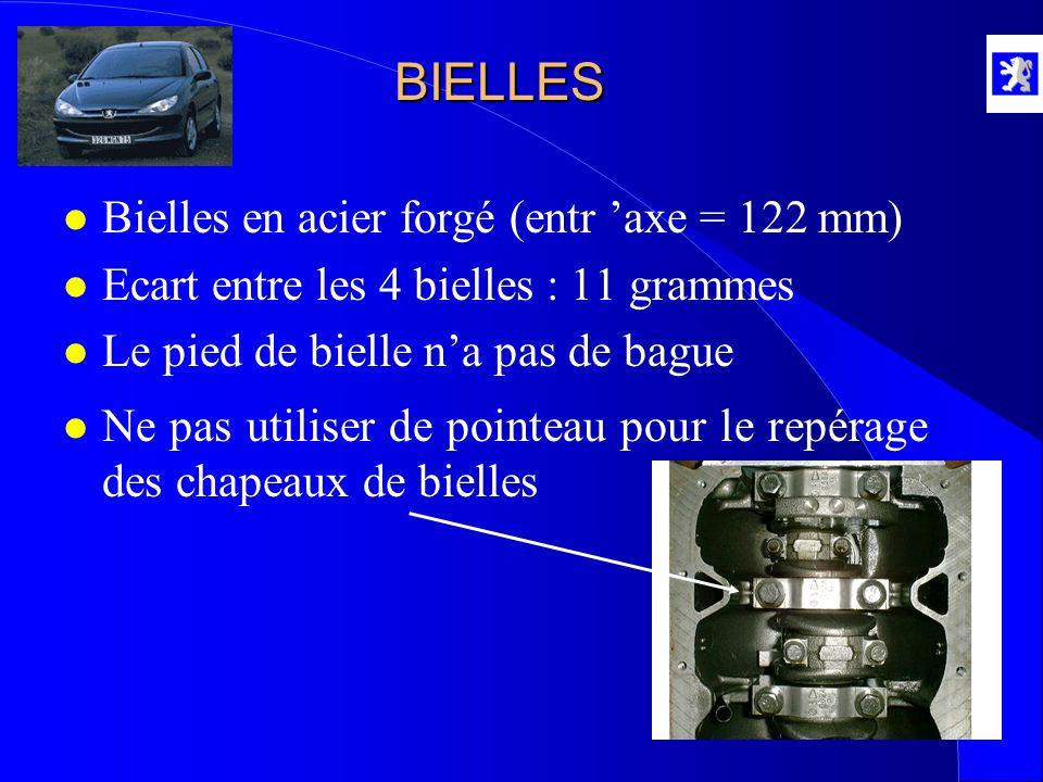 BIELLES l Bielles en acier forgé (entr axe = 122 mm) l Ecart entre les 4 bielles : 11 grammes l Le pied de bielle na pas de bague l Ne pas utiliser de