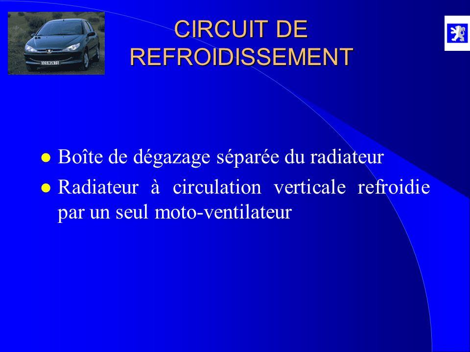 CIRCUIT DE REFROIDISSEMENT l Boîte de dégazage séparée du radiateur l Radiateur à circulation verticale refroidie par un seul moto-ventilateur