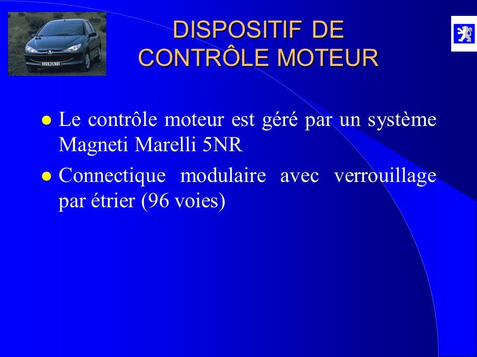 l Le contrôle moteur est géré par un système Magneti Marelli 5NR l Connectique modulaire avec verrouillage par étrier (96 voies) DISPOSITIF DE CONTRÔL