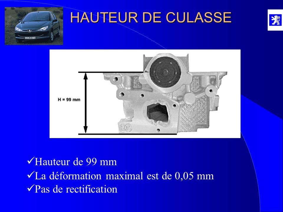 HAUTEUR DE CULASSE Hauteur de 99 mm La déformation maximal est de 0,05 mm Pas de rectification