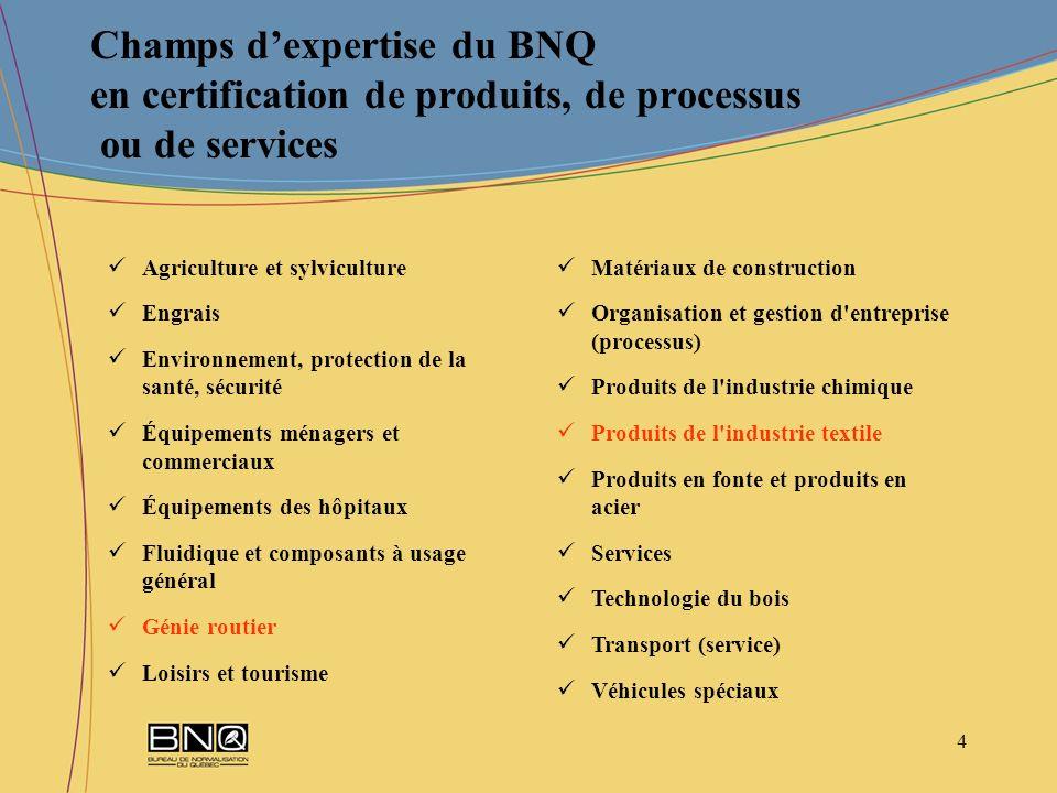 15 Programme de certification – GCTTG 3001-06 – Qualité des géotextiles utilisés en génie routier Structure du programme – Protocole de certification BNQ 7009-910/2007 (suite) 3.Étiquette à lintérieur du tube et sur lemballage La marque de conformité du BNQ, la référence à la spécification GCTTG 3001 et le numéro du certificat de conformité du BNQ Les éléments didentification du produit le nom commercial ou la raison sociale du fabricant la désignation commerciale le type de géotextile les dimensions du rouleau les numéros didentification (lot et rouleau) la date de fabrication Lidentifiant unique du géotextile.