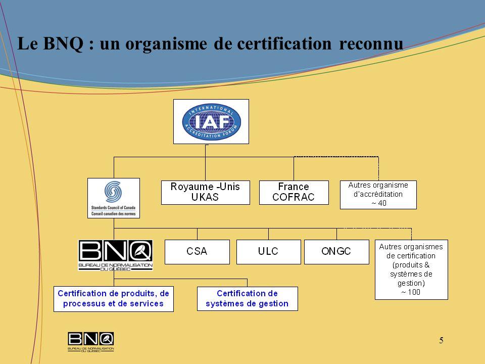 6 Processus de certification de produits de processus ou de services Un processus de certification simple et efficace en 5 étapes permet au BNQ doffrir des programmes de certification pour faire reconnaitre, de façon continue, la conformité de produits, de processus et de services à partir d une norme en vigueur ou dun autre document reconnus.