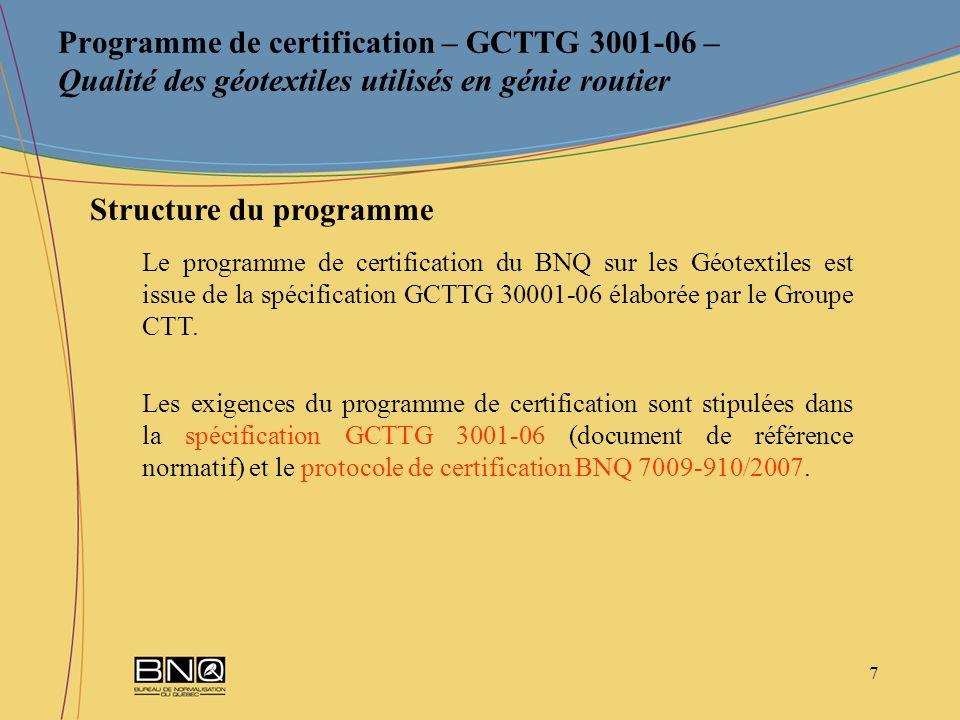 18 Programme de certification – GCTTG 3001-06 – Qualité des géotextiles utilisés en génie routier Règles de procédure générales du NQ 9902-001.