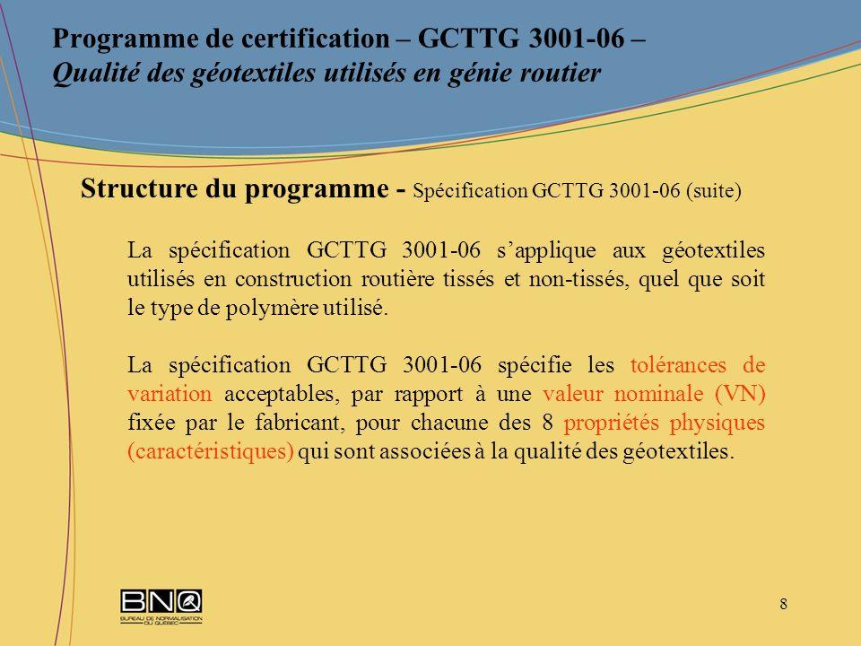 9 Programme de certification – GCTTG 3001-06 – Qualité des géotextiles utilisés en génie routier Structure du programme - Spécification GCTTG 3001-06 (suite)
