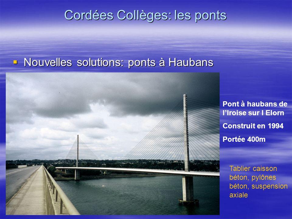 Nouvelles solutions: ponts à Haubans Nouvelles solutions: ponts à Haubans Cordées Collèges: les ponts Pont à haubans de lIroise sur l Elorn Construit