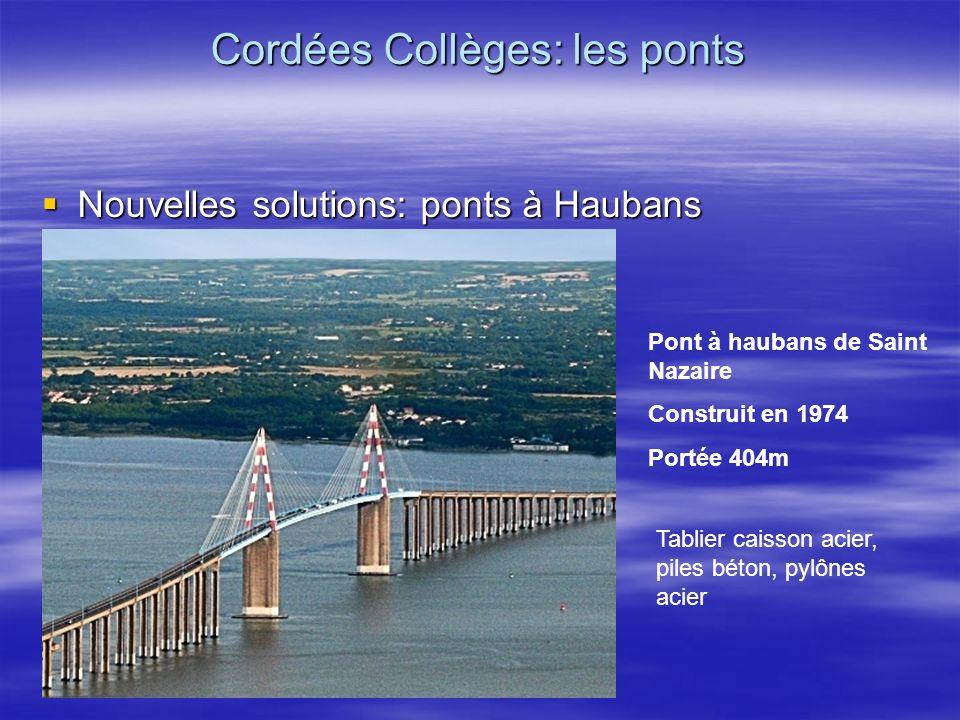 Nouvelles solutions: ponts à Haubans Nouvelles solutions: ponts à Haubans Cordées Collèges: les ponts Pont à haubans de Saint Nazaire Construit en 197
