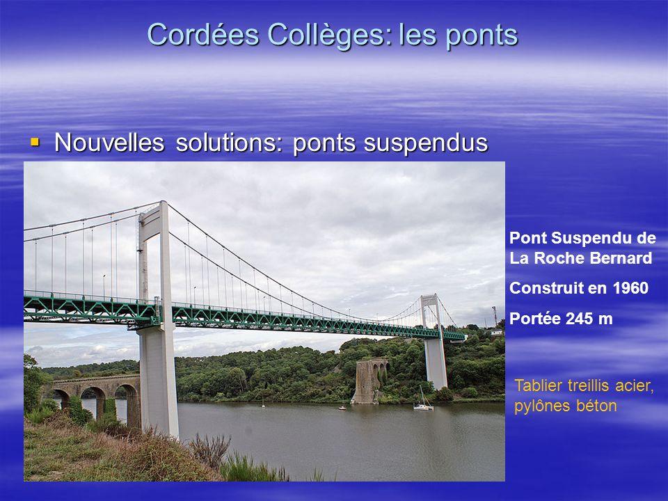 Nouvelles solutions: ponts suspendus Nouvelles solutions: ponts suspendus Cordées Collèges: les ponts Pont Suspendu de La Roche Bernard Construit en 1