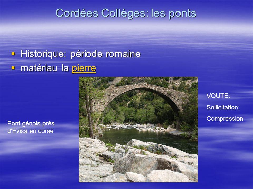 Historique: période romaine Historique: période romaine matériau la pierre matériau la pierrepierre Cordées Collèges: les ponts Pont génois près dEvis