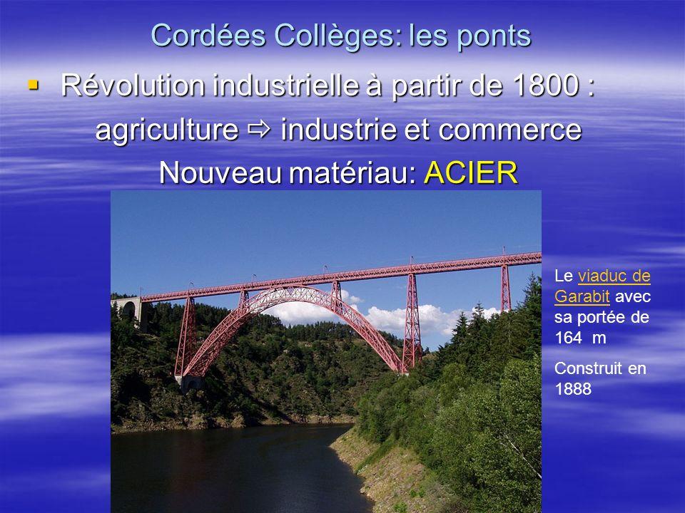 Nouvelle mise en œuvre de lacier Nouvelle mise en œuvre de lacier Pont de Cornouaille à Benodet : portée de 200m Construit en 1964 Cordées Collèges: les ponts Poutre-caisson Poutre-caisson Acier