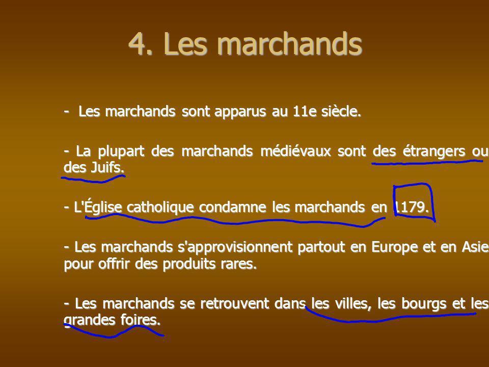 - Les marchands sont apparus au 11e siècle. - La plupart des marchands médiévaux sont des étrangers ou des Juifs. - L'Église catholique condamne les m
