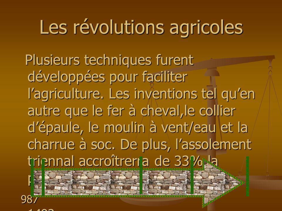 Les révolutions agricoles Plusieurs techniques furent développées pour faciliter lagriculture. Les inventions tel quen autre que le fer à cheval,le co